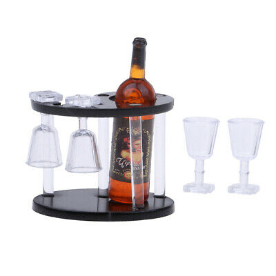 Champagne Bottle Wine Rack Four Glass Cup Red 1/12 Dollhouse Miniatures New