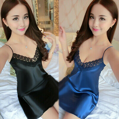 Fashion Women Faux Silk Solid Color Nightwear Sleep Night Dress Sleepwear Sets