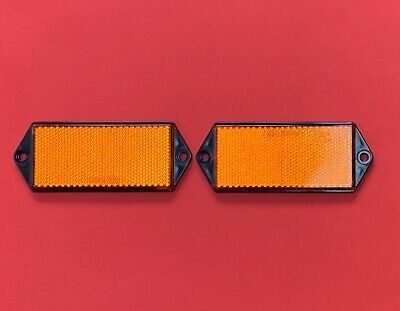 2 x RADEX Rectangle Screw Mount Orange Reflectors 127mmx50mm Fence/Driveway/Post