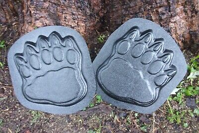 Bear track plaque molds stepping stone plaster concrete moulds