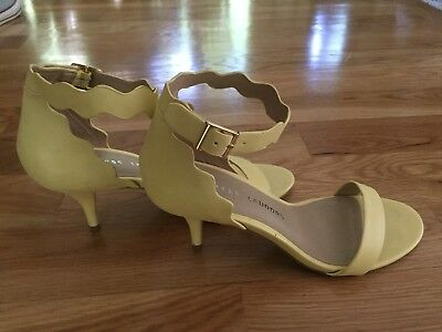 e072d687b7 Chinese Laundry Slingback Ankle Strap Heels Scalloped Yellow Open Toe size 8