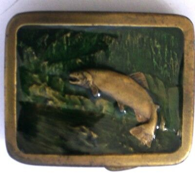 Vintage 1977 **Trout Fish Jumping Upstream** Indiana Metal Craft Belt Buckle