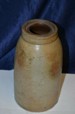 Late 19th Century American Salt Glaze Crock 1800's w/ age early North Carolina