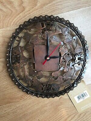 Fair Trade Solid Brass Clock - Made From Recycled Keys And Bicycle Chain. New