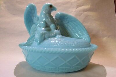 Westmoreland Glass Antique Blue Mother Eagle on Nest Covered Dish