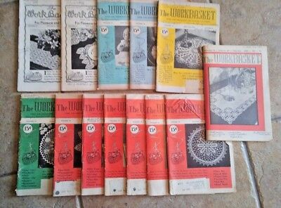 13 Workbasket home needlecraft magazine vtg books 1950-1963 knit crochet recipes