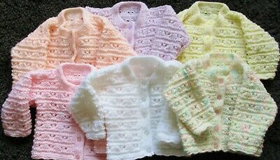 Hand knitted baby girl lacy cardigan 0-3/3-6 months choice of colour