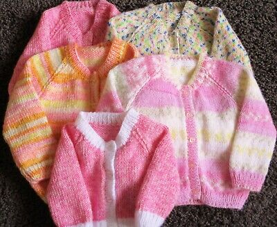 Hand knitted baby cardigan newborn-18 mths various sizes/colours available