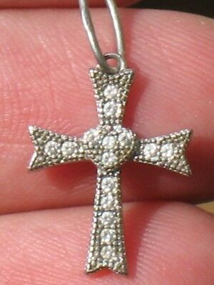 RUSSIAN Ukraine GREEK ORTHODOX CROSS Pendant STERLING SILVER CRUCIFIX 925 Stone