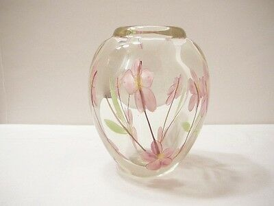 ENCASED PAPERWEIGHT VASE Wildflower Art Glass Pink Yellow Centered Prairie Roses