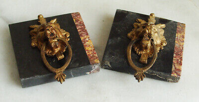 Antique slate & marble brass lions from a clock