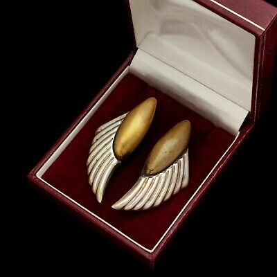 Antique Vintage Deco Mid Century Sterling Silver Brass TAXCO Wing HUGE Earrings