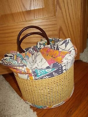 CUTE! Vintage Handmade Sewing Notion Bag Box Fabric Basket Round Handles Wood