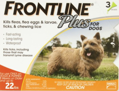 FRONTLINE Plus Small dogs Flea and Tick Control for 5-22lbs Dogs 3 Dose NO BOX