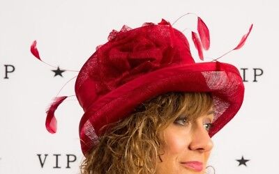Red rose feathered formal hat with spun silk trim Wedding Races Christening