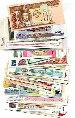Foreign Currency Mixed Country Note Lot Of 74 Cu