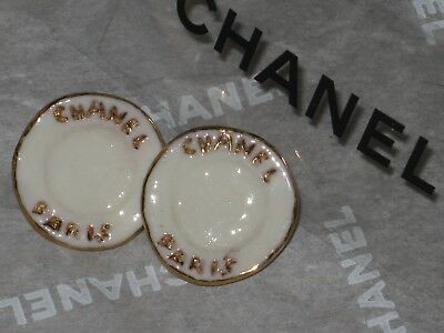 CHANEL 3 ceramic  paris FRONT, off white GOLD  BUTTONS  14 MM / SMALL  NEW LOT 3