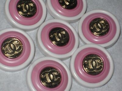 CHANEL 4 GOLD  METAL CC LOGO FRONT LIGHT  PINK  WHITE RESIN  BUTTON  22 MM lot 4
