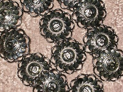 Chanel 12 Metal Cc Logo Front  Dark Silver Buttons 22 Mm /   1'' Lot 12