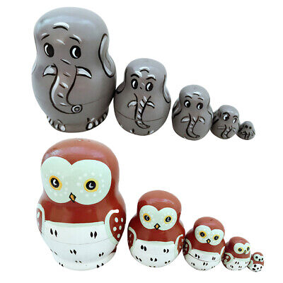 10PCS Wooden Russian Nesting Doll Owl Animal & Elephant Hand Painted