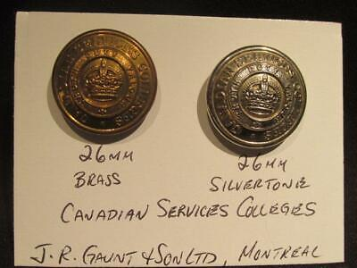 Canadian Services Colleges Pair of WWII Era 26MM Buttons JR Gaunt & Sons