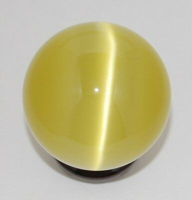 Cat's Eye 50mm Sphere Ball Globe Orb w/Stand, Yellow, New, USA Seller