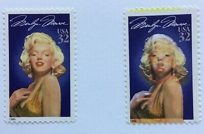 1 MNH #2967 Marilyn Monroe color shift error US postage stamp red & yellow shift