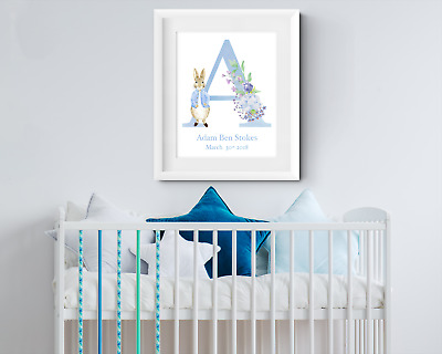 Personalised Rabbit Letter. Baby Boy name print. Christening gift Nursery print