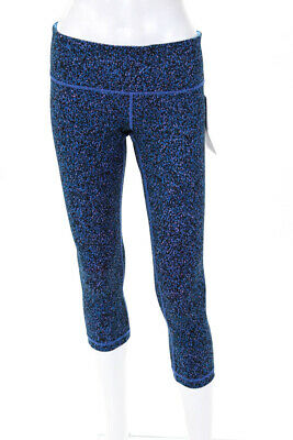 f31ba06cecdfd Lululemon Womens Wunder Under Cropped Leg Athletic Leggings Blue Print Size  8