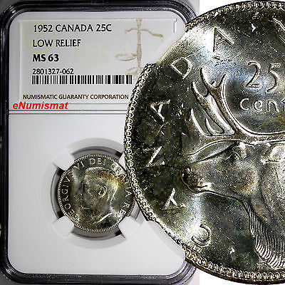CANADA George VI Silver 1952 25 Cents NGC MS63 Low Relief Variety Toning KM# 44