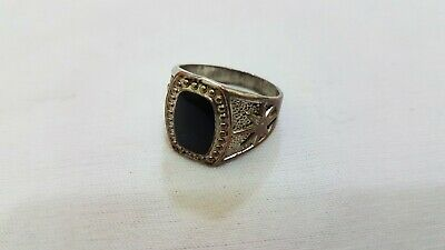 Ancient Vintage Viking Ring Bronze Black Stone Magnificent Artifact Rare Type