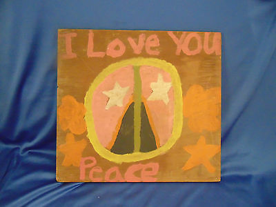 """Hand crafted I Love You Peace sign wall hanging 13"""" x 14"""" Outsider Art Hippie"""