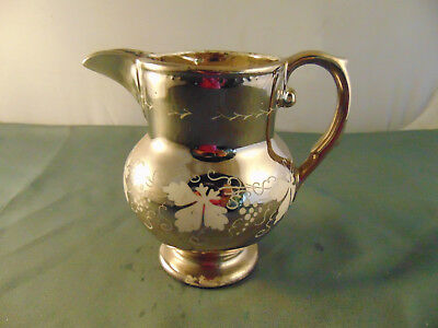 Antique porcelain creamer pitcher silver coating 1 pint elegant table piece pour