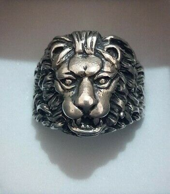 EXTREMELY RARE Ancient RING VIKING silver LION HEAD RING sise 10