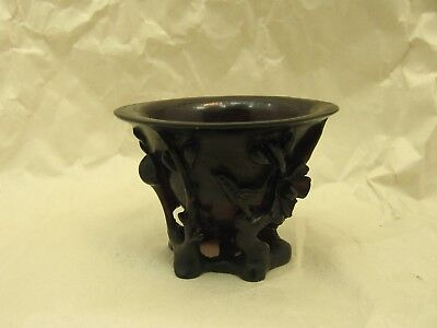 Beautifully Carved Antique Chinese Cherry Amber Libation Cup with Bird Motif