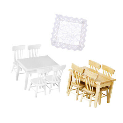 11 pieces 1/12 Doll House Miniature Table Chair Model Tablecloth Set