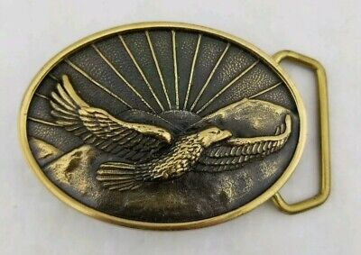 NEW Vintage BTS 70s SOLID BRASS BELT BUCKLE EAGLE Over Mountain sunrise Made USA