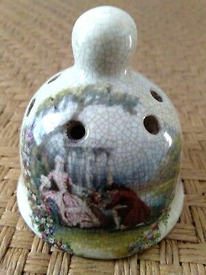 Vtg Miniature Pepper Salt Bottle Jar Ceramic Pottery Crackle Artisan Folk Art
