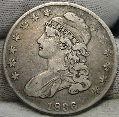1836 Capped Bust Half Dollar 50 Cents, O-105 R4, Nice Coin Free Shipping  (6281)