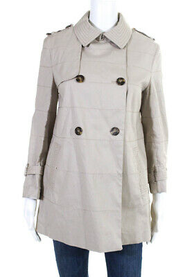 636e47a4a1af Moncler Womens Double Breasted Top Stitched Trench Coat Jacket Beige Size 1