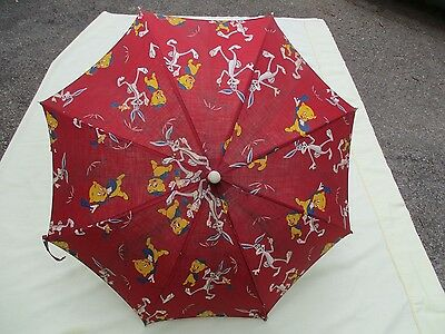 Rare Vintage Porky Pig/Bugs Bunny Child's Red Cloth Umbrella
