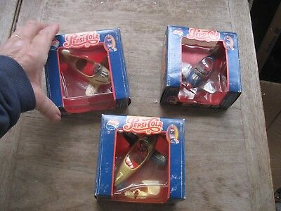 3 Die-cast 1995 Pepsi-Cola Airplane Replica Collection Planes in Boxes-Unused