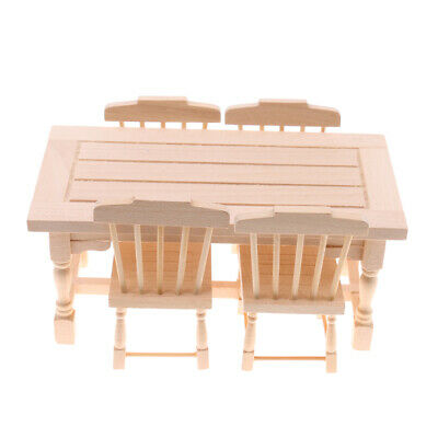 Dolls House Dining Room Accessories Miniature Natural Table Chairs Set 1/12