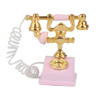 1/12 Dollhouse Miniature Retro Phone Model Telephone Table Display Pink
