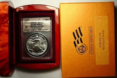1989 Silver American Eagle Midwest Hoard First Release MS70 ANACS RARE