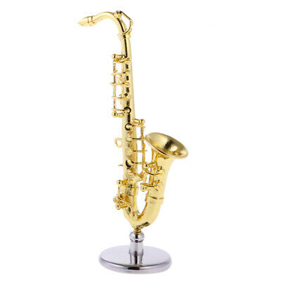 Alloy Golden Miniature Saxophone 1:12 Scale Dollhouse Music Room Accessories
