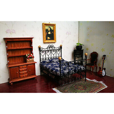1:12 Dollhouse Miniature European Style Metal Double Bed Bedroom Furniture