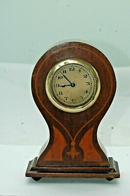 """Small Antique """"balloon"""" Inlaid Mantle Clock."""