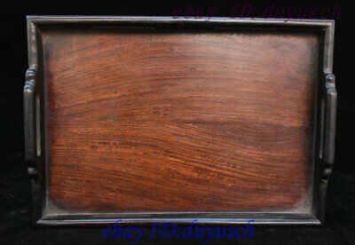 """13"""" Old Chinese huanghuali Wood handcrafted tea set Tea Tray Pallets Dish plate"""