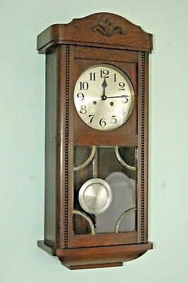 Antique Oak Case Wall Clock With Key & Pendulum.